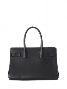 Black calfskin leather cabas handbag