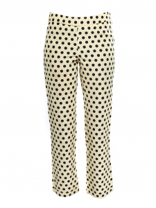 Cream yellow and black polka dot faille cropped pants Retail price €700 Size XS