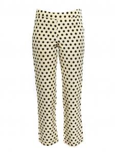 Pantalon cropped taille basse en faille jaune crème à pois noirs Px boutique 700€ Taille XS