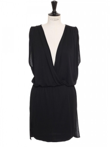 Black jersey draped and cinched sleeveless dress Retail price €600 Size 36 to 38