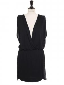 Robe sans manche drapée et cintrée en jersey noir Prix boutique 600€ Taille 36 à 38