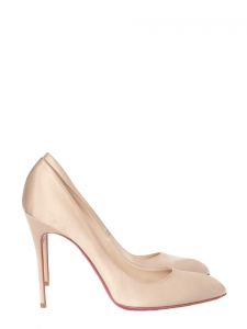 Chiara 100 champagne beige silk satin stiletto heels pumps retail price 425€ Size 41
