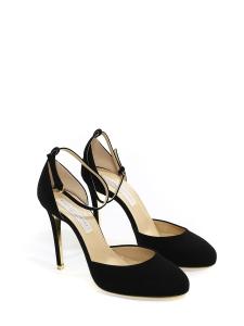 Chaussures à talon et bride cheville en faux suède noir NEUVES Px boutique 600€ Taille 37,5