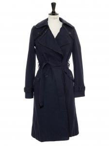 Trench en gabardine de coton bleu marine et vinyl noir Prix boutique 500€ Taille 36