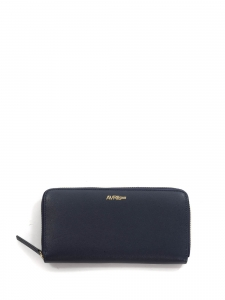 Navy blue long zipped wallet with gold metallic leather lining Retail price €130
