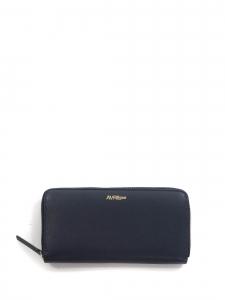 Portefeuille long zippé en cuir bleu nuit intérieur cuir métallisé doré Prix boutique 130€