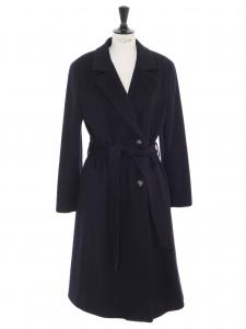 Manteau long ceinturée en laine vierge bleu nuit Prix boutique 1500€ Taille 38/40