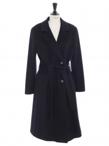 Midnight blue virgin wool belted maxi coat Retail price €1500 size 38/40