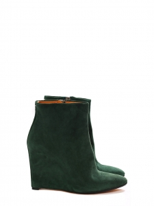 Hunter green suede wedge heel ankle boots NEW Retail price €650 Size 37.5