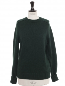Dark green ultra soft yak and merinos wool round neck sweater Retail price €270 Size M