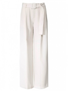 Ecru white crepe fluid wide leg belted pants Retail price $325 Size 42