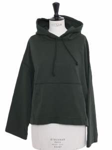Joghy emboss dark green cotton hooded sweater Retail price €260 Size M to L