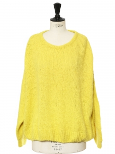 Bright yellow baby alpaca and wool oversized sweater Size M to L