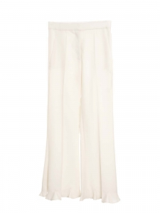 Cropped Ruffled cream white Wool-blend Flared Trousers Retail price €745 Size 40