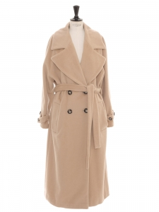Beige camel virgin wool, mohair and alpaca belted maxi coat Retail price €449 Size 42