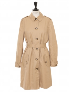 Camel beige double-breasted classic cotton trench coat Retail price €540 Size 38/40