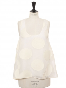 Cream white silk-blend top embroidered with fil coupé Retail €750 NEW Size 36
