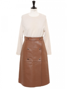 Cognac brown leather buttoned high waist midi skirt Retail price €3500 Size 38