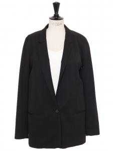 Black wool crepe one button blazer jacket Retail price €1000 Size 38
