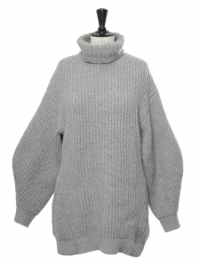 ISA turtleneck light grey ribbed wool sweater with puff sleeves Retail price $450 Size XS à M