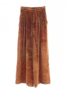 Fawn brown velvet wide leg high waist pants Retail price €330 Size 38/40