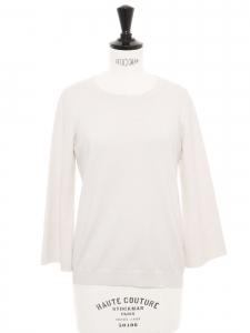 Ivory white wool round neck sweater Retail price €330 Size S