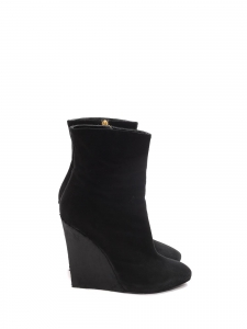 Black suede and leopard print calf hair wedge boots Retail price 800€ Size 40