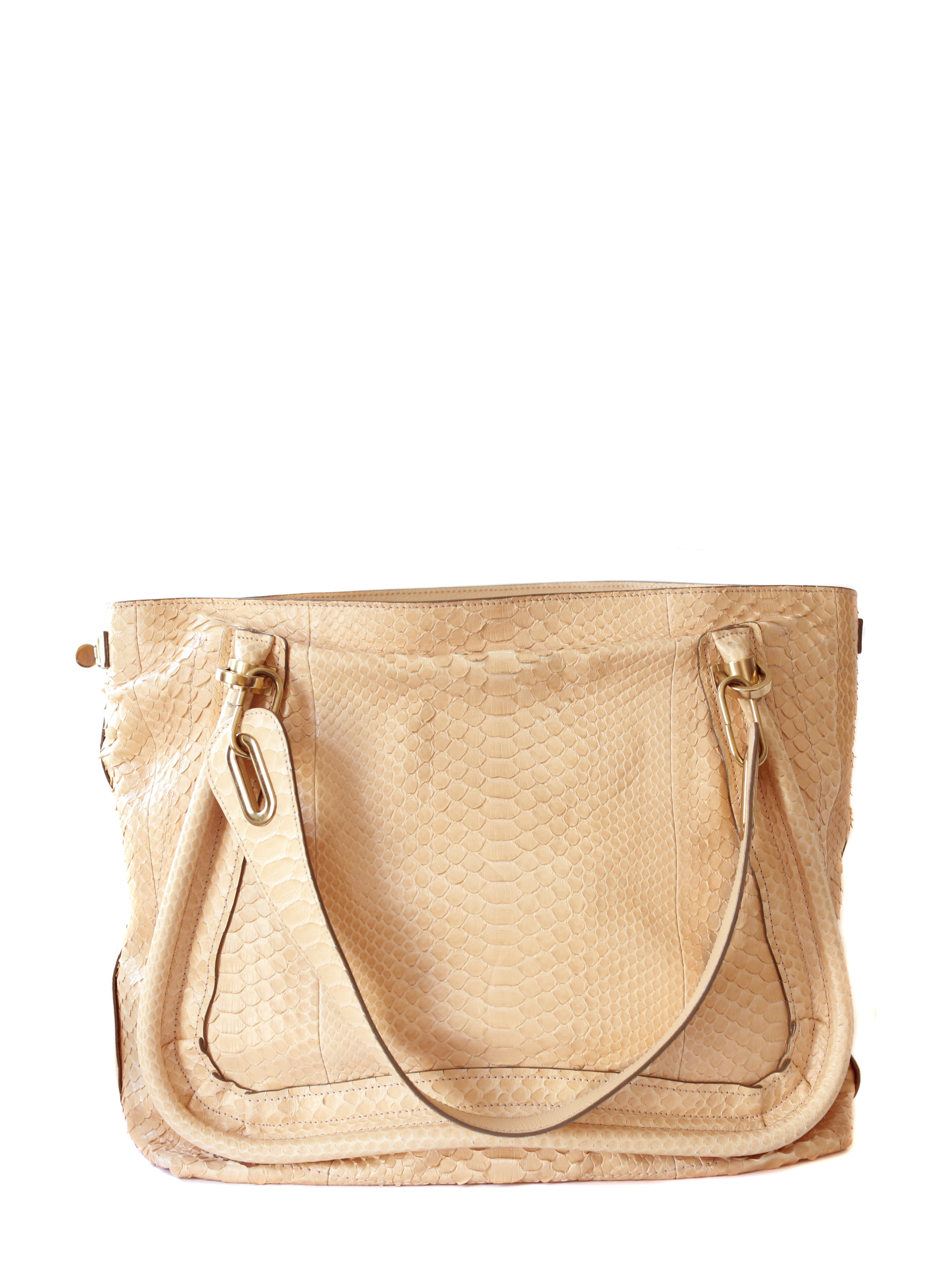 Louise Paris - CHLOE Paraty pink beige python leather shopper tote ...