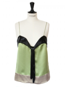 Beads embroidered clover green silk top Retail price 1050€ Size 38
