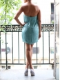 JAY AHR Turquoise blue silk sequin embellished bustier mini dress Retail price €1400 Size XS
