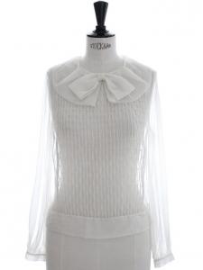 Rare haute couture white silk organza blouse worth 1500€ Size M to L