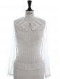 Rare haute couture white silk organza blouse worth 1500€ Size M to L