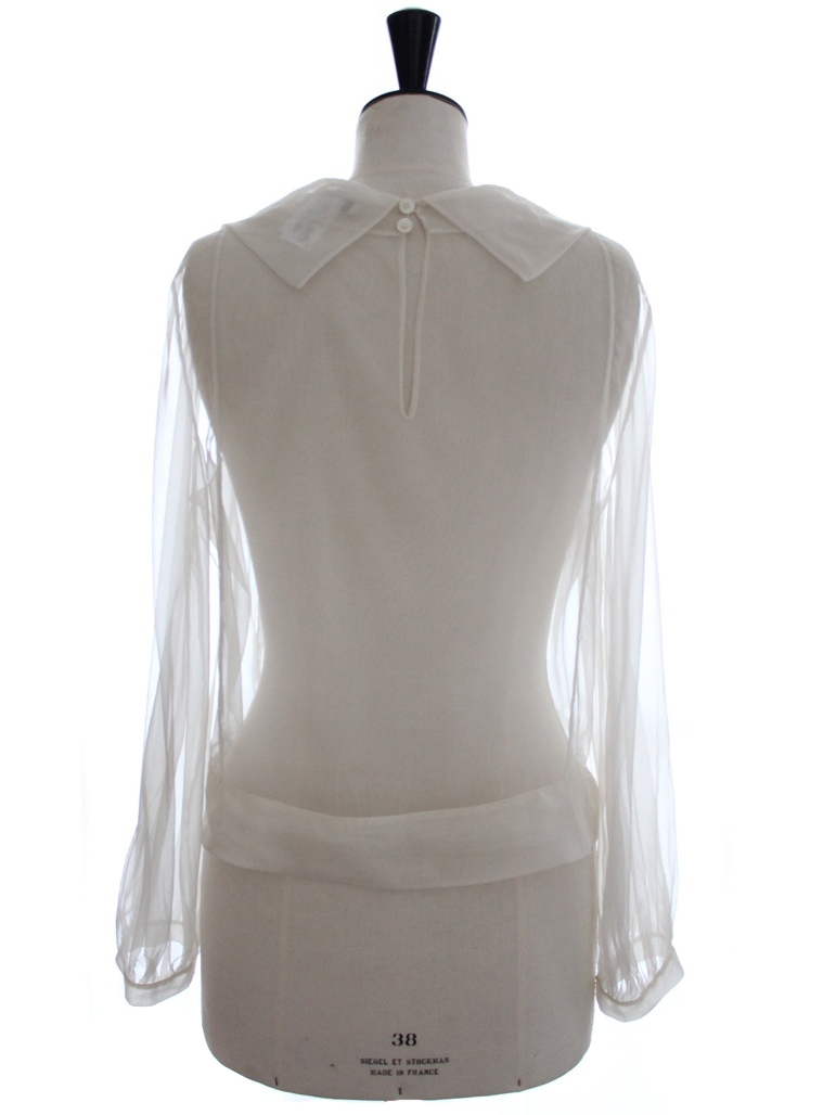 Louise paris chloe rare haute couture white silk organza for Haute couture tops