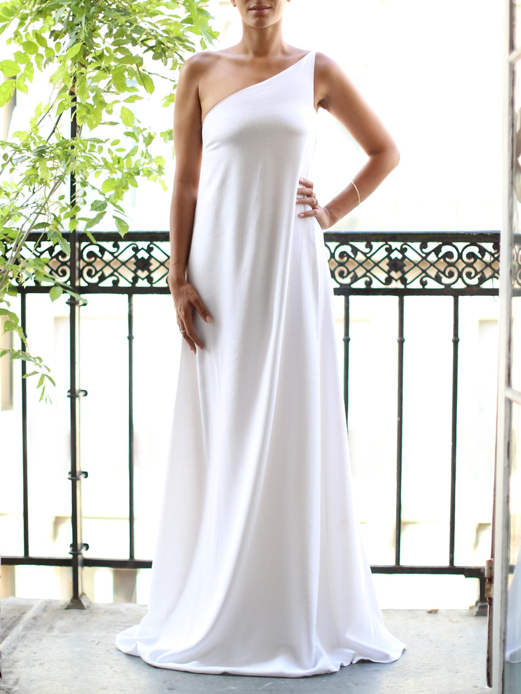 louise paris chloe robe de mari e longue asym trique en lin blanc et mousseline de soie taille. Black Bedroom Furniture Sets. Home Design Ideas