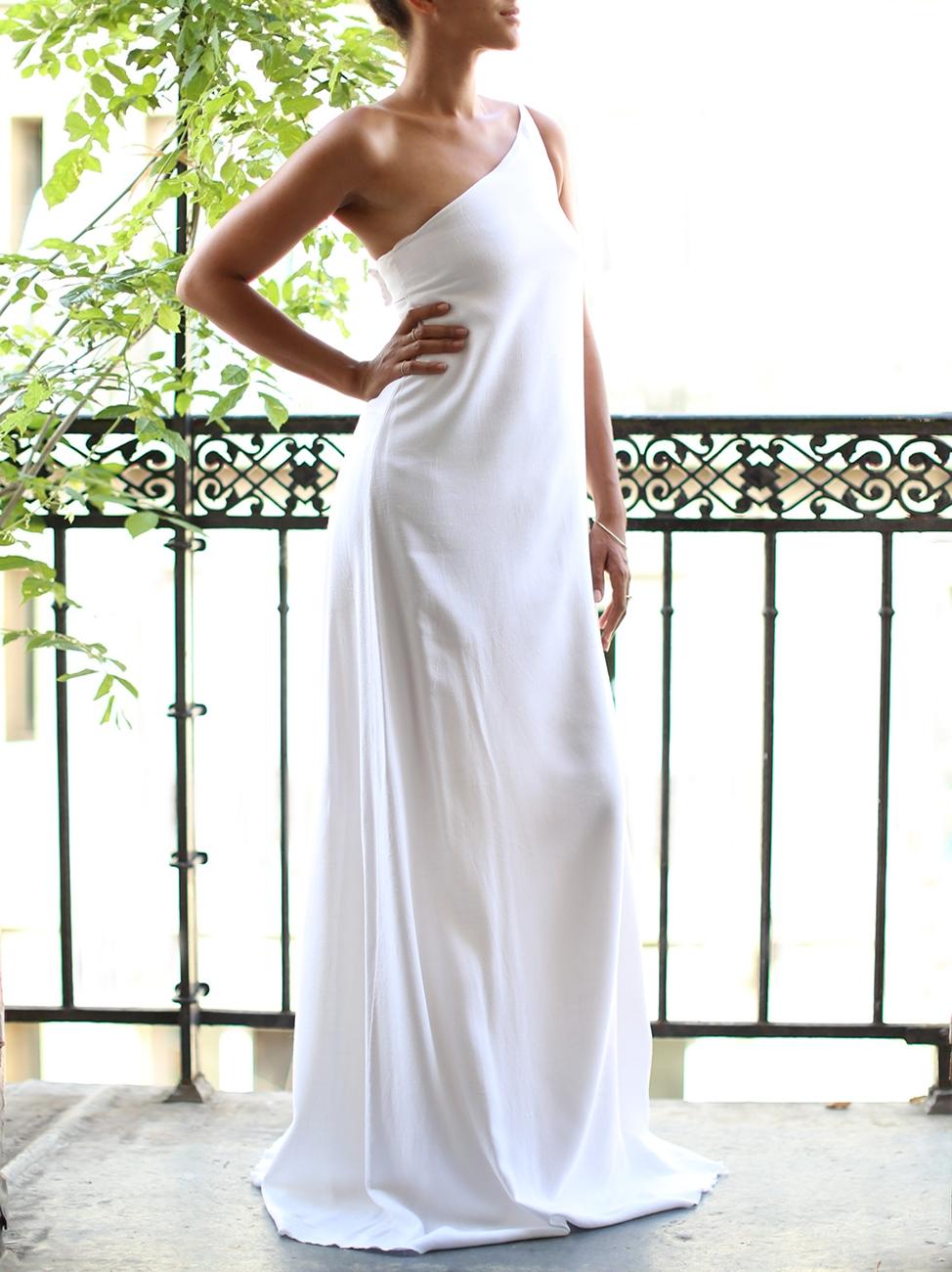 Robe de mariée longue asymétrique en lin blanc et mousseline de soie ...