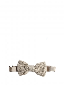Ecru beige silk knitted bow tie NEW