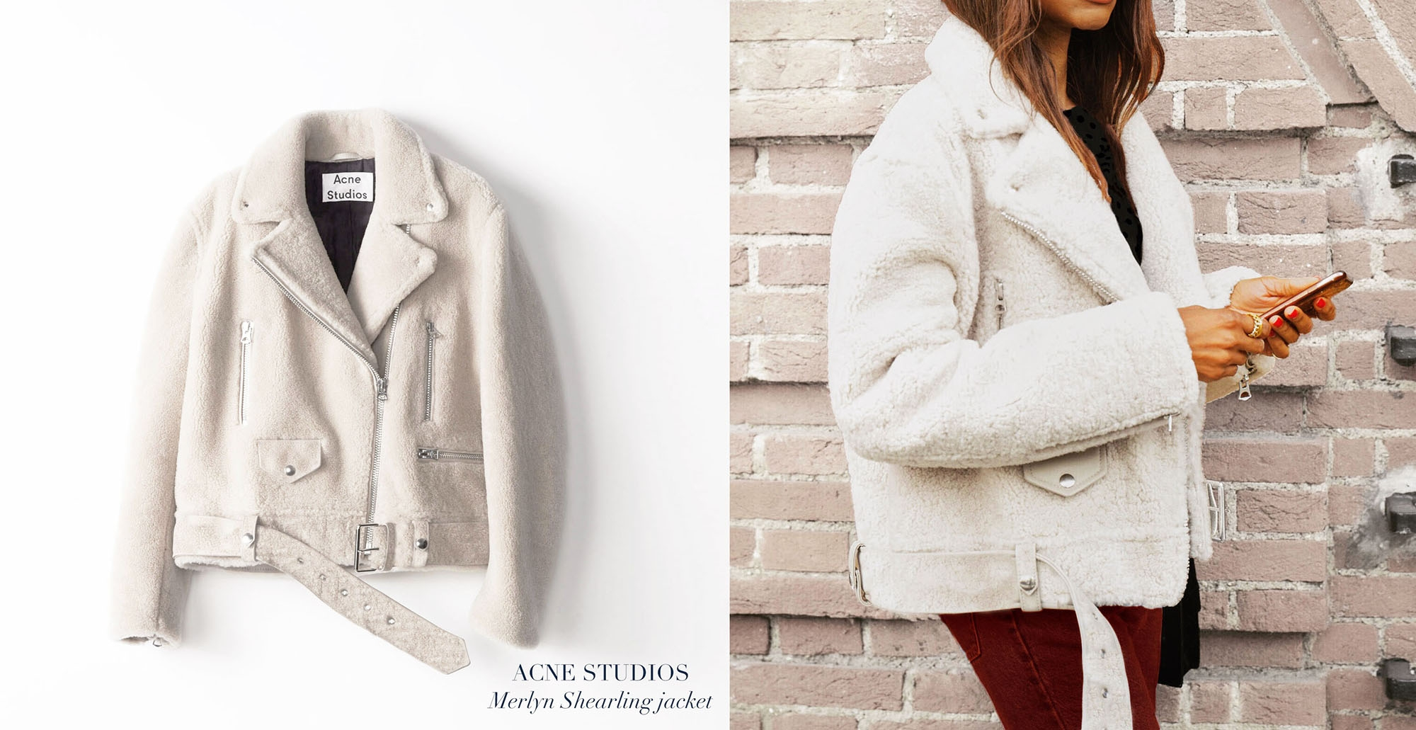 MERLYN Ivory white mock felted shearling jacket Retail price €1900 Size S/M
