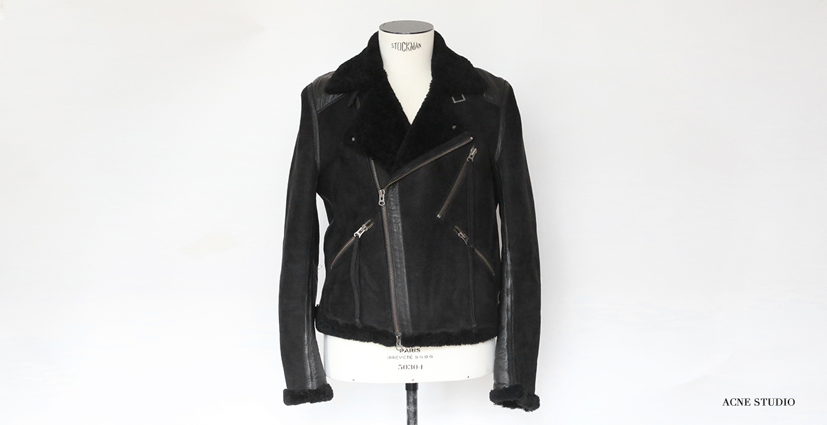 ACNE HOMME Black suede shearling jacket Retail price 2000€ Size S/M