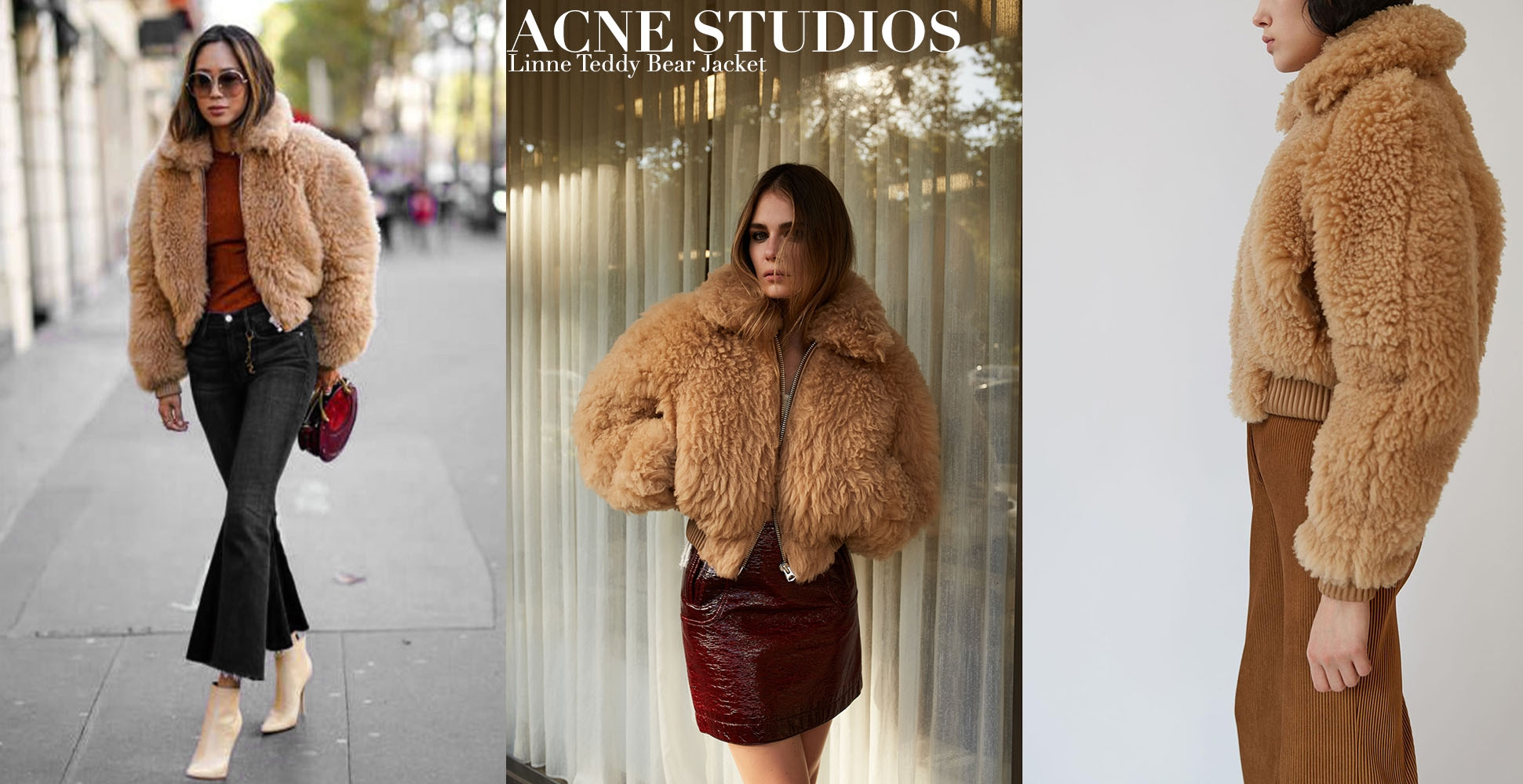 ACNE STUDIOS LINNE TEDDY BEAR Camel brown shearling jacket Retail price $3414 Size 36