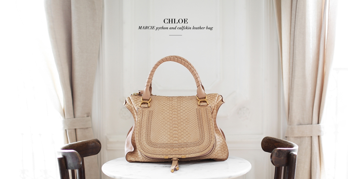 CHLOE Beige pink python large Marcie shoulder bag Retail price 3000€