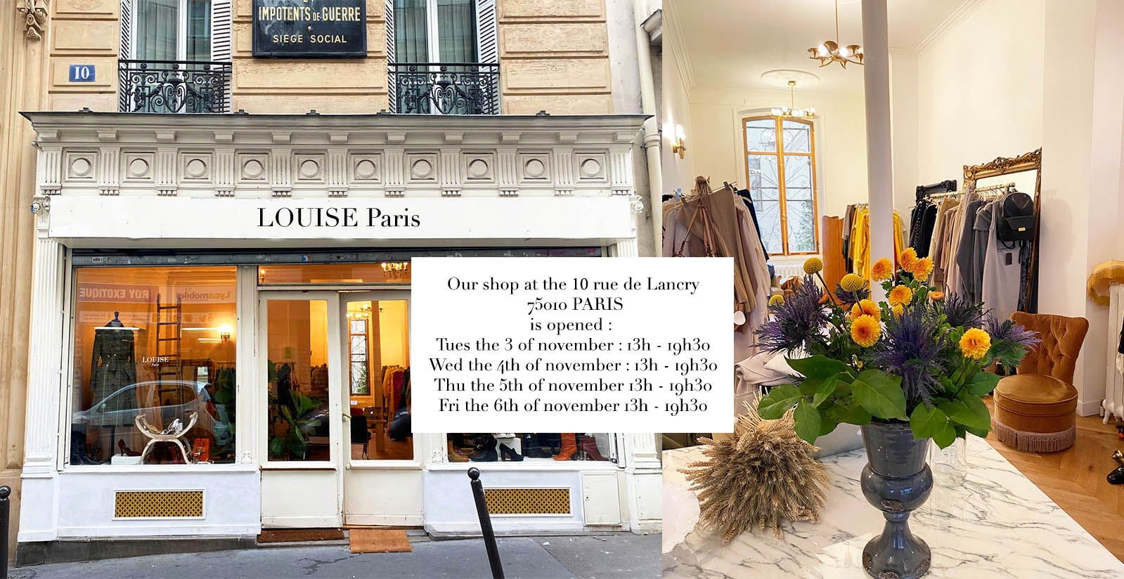 opening hours of our shop at the 10 rue de lancry 75010 Paris