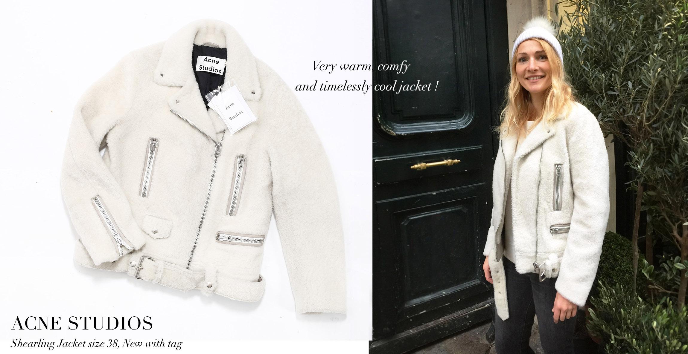 ACNE STUDIOS MERLYN Ivory white mock felted shearling jacket Retail price €1900 Size 38