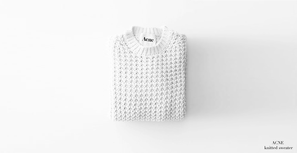 ACNE White waffle knit short sweater NEW Retail price 240€ Size S