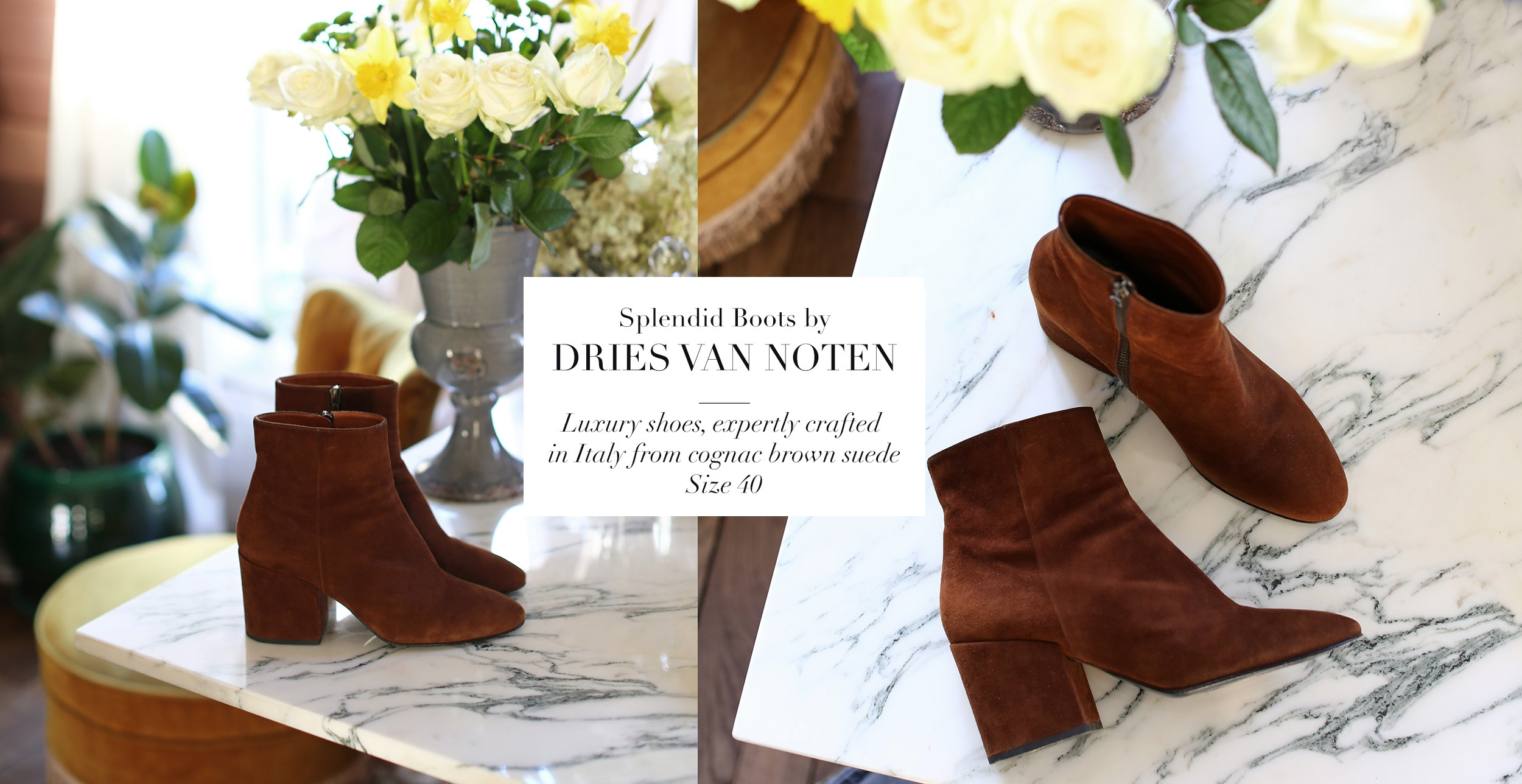 DRIES VAN NOTEN Brown suede leather and block heel ankle boots Retail price €630 Size 40