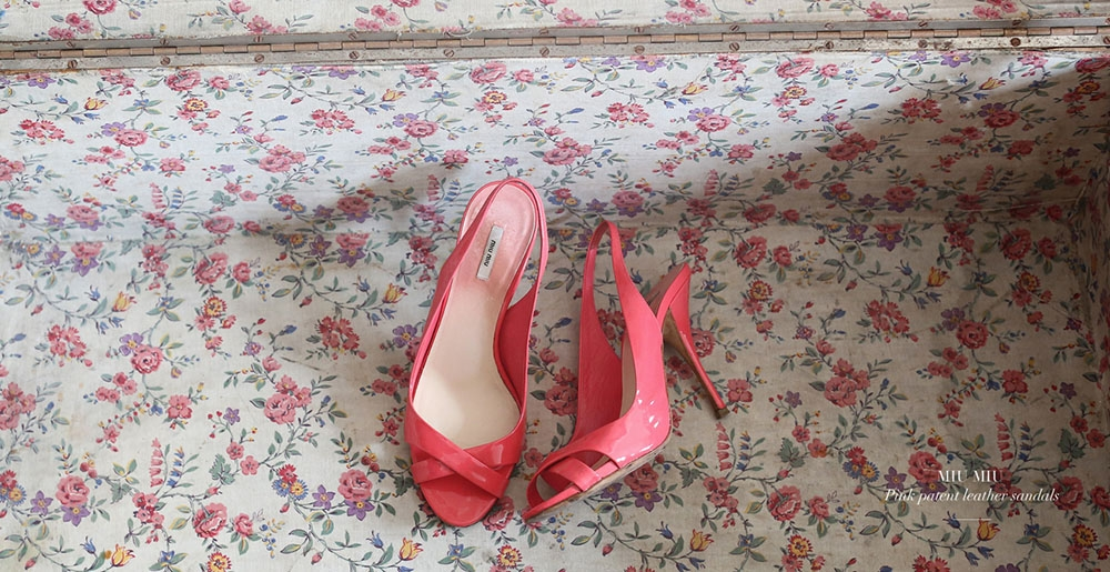 MIU MIU Candy pink patent leather heel sandals Size 37,5