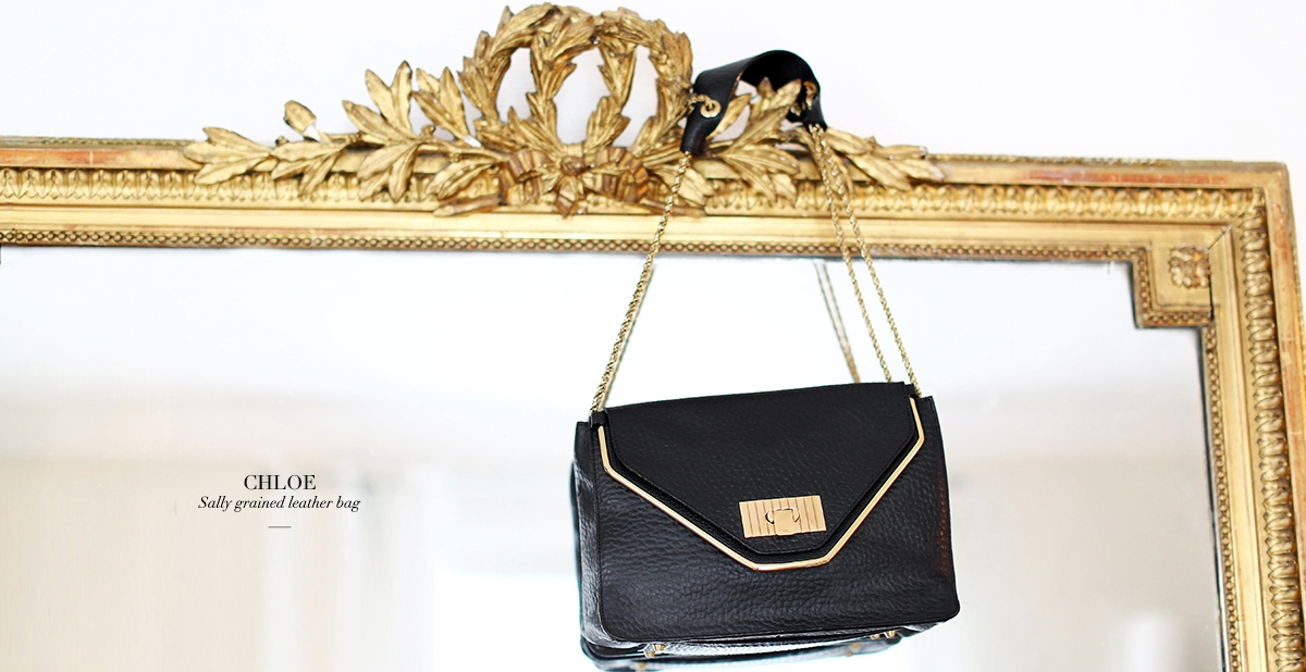 CHLOE SALLY Black textured leather shoulder bag NEW Retail price 1500€