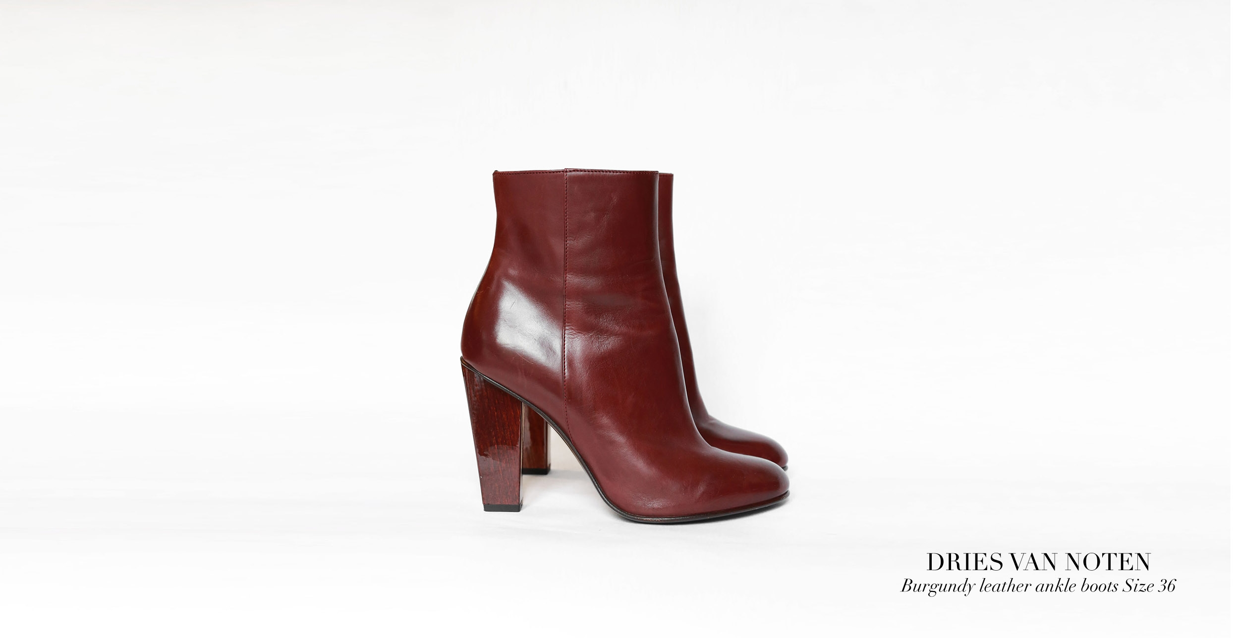 DRIES VAN NOTEN Burgundy leather and wooden heel high ankle boots Retail price €700 Size 36