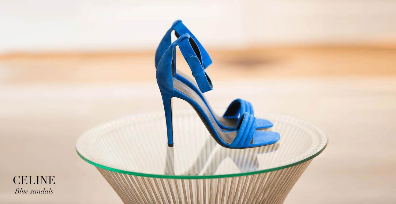 CELINE High heel royal blue suede ankle strap sandals Retail price €610 Size 38.5