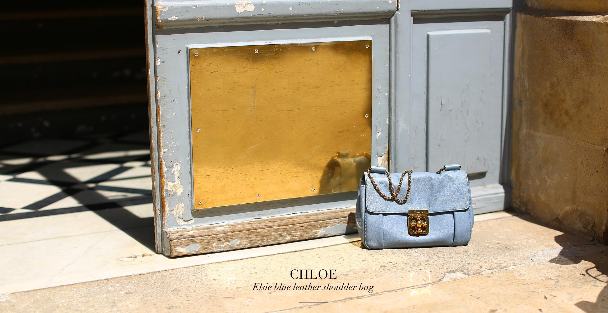 CHLOE Elsie medium light blue textured-leather shoulder bag with gold chain Retail price €1100