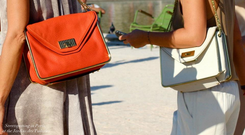 CHLOE SALLY orange grained leather shoulder bag and gold chain Retail price €1710